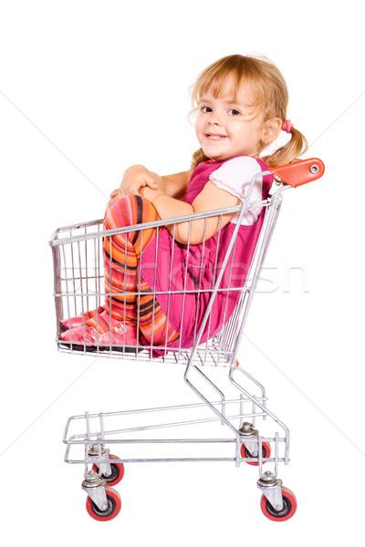 Mädchen ängstlich Warenkorb kleines Mädchen Sitzung Warenkorb Stock foto © lightkeeper