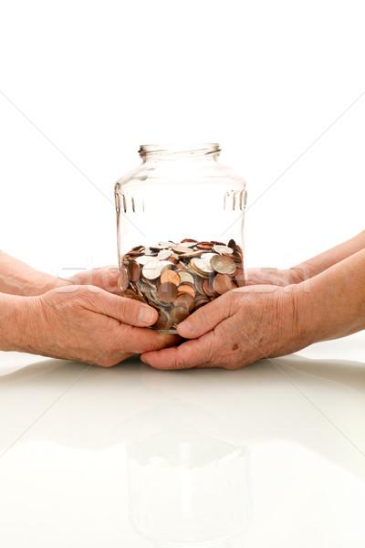 érték nyugdíj alap idős kezek tart Stock fotó © lightkeeper