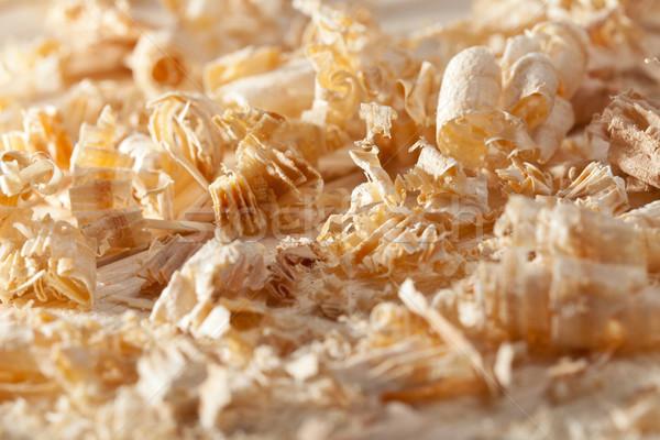 Wooden shavings closeup Stock photo © lightkeeper