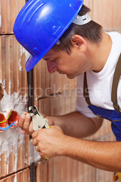 Electrician peeling off wires Stock photo © lightkeeper