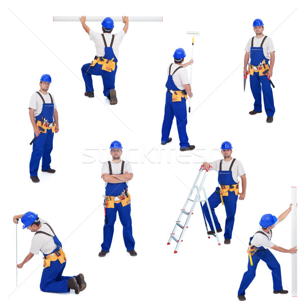 Handyman or worker in different working positions Stock photo © lightkeeper