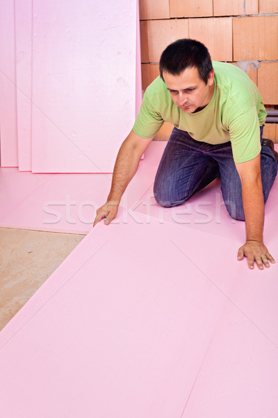 Laying floor insulation in a new house Stock photo © lightkeeper