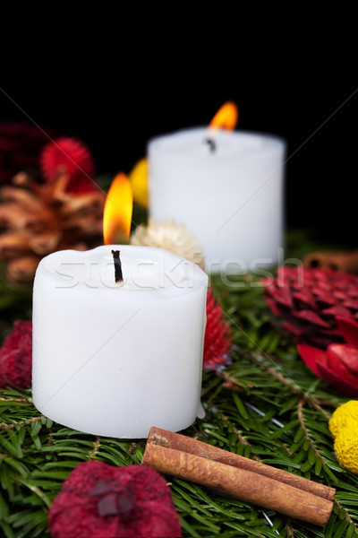 Natal velas advento coroa pormenor preto Foto stock © lightkeeper