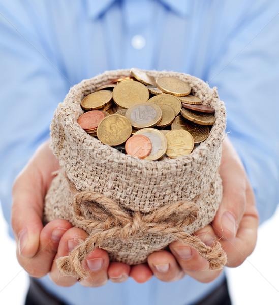 Férfi kezek tart pénz táska Euro Stock fotó © lightkeeper