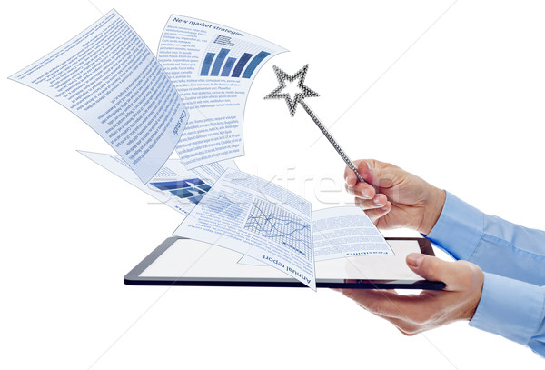 Businessman managing electronic documents Stock photo © lightkeeper