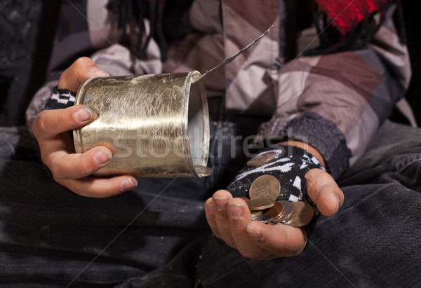 Poor beggar child counting coins - closeup on hands Stock photo © lightkeeper