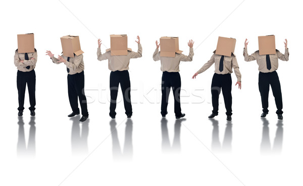 Box headed businessman with reflection Stock photo © lightkeeper