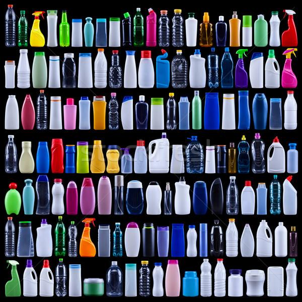 Groß Set Kunststoff Flaschen schwarz isoliert Stock foto © lightkeeper