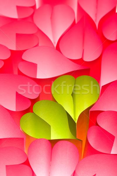 Papír szívek rózsaszín zöld kettő sok Stock fotó © lightkeeper
