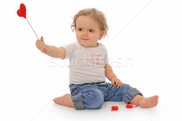 Boldog évforduló egyéves lány játszik piros Stock fotó © lightkeeper