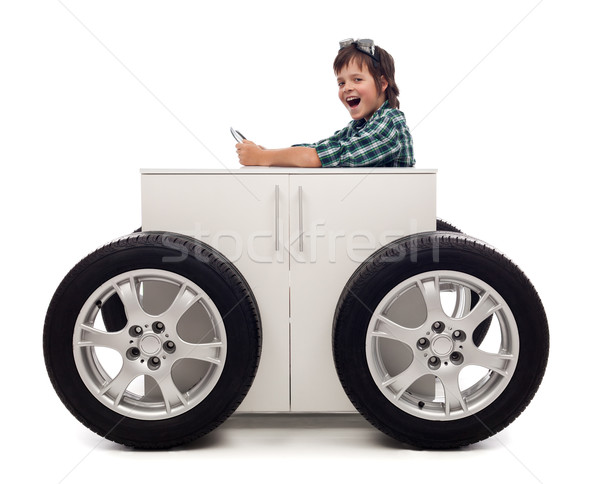Young motorist - boy playing Stock photo © lightkeeper