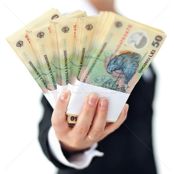 Román valuta nő kéz közelkép sekély Stock fotó © lightkeeper