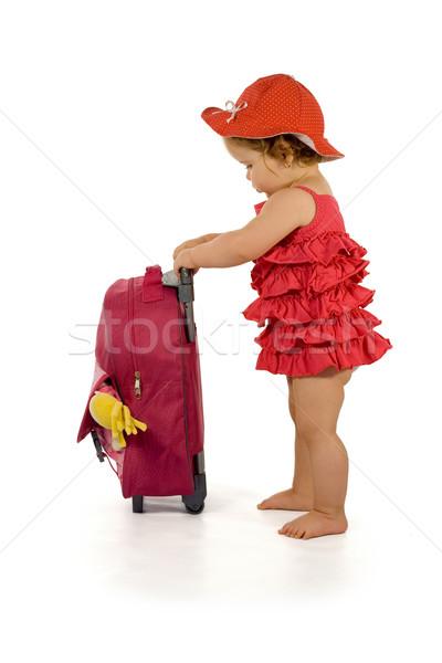 Mor tatil yolculuk küçük kız elbise şapka Stok fotoğraf © lightkeeper