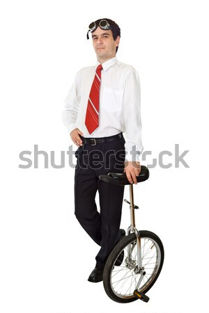 Businessman with monocycle Stock photo © lightkeeper