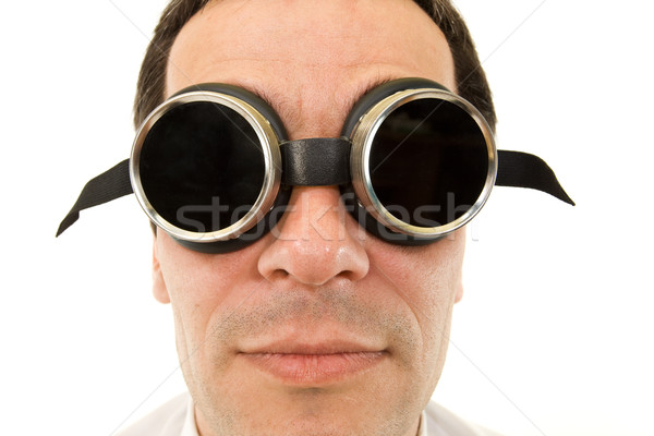 Man with large dark protective goggles Stock photo © lightkeeper