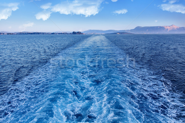 Ferry leaving Corfu island - leaving a trail Stock photo © lightkeeper