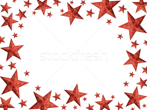 Bright red Christmas stars frame - isolated Stock photo © lightkeeper
