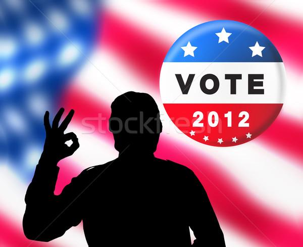 Americano presidencial eleições bandeira homem silhueta Foto stock © lightkeeper