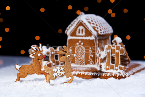 Christmas gingerbread cookie house and deers Stock photo © lightkeeper