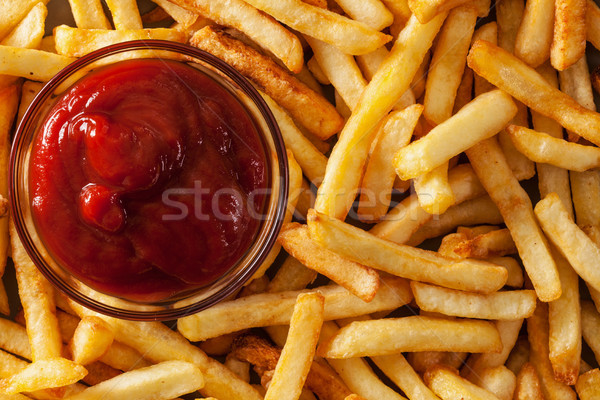 Delicious french fries and ketchup - top view Stock photo © lightkeeper