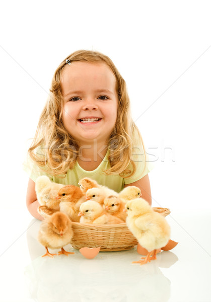 Happy girl with her Easter baby chickens Stock photo © lightkeeper