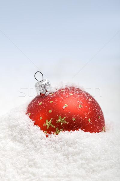 Piros karácsony csecsebecse hó copy space háttér Stock fotó © lightkeeper