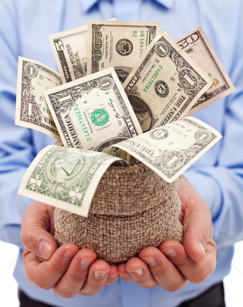 Incentive for businessman - bag full of dollar banknotes Stock photo © lightkeeper