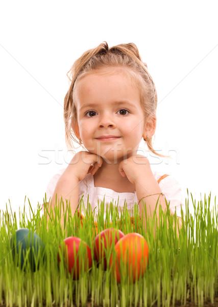 Foto stock: Menina · colorido · ovos · fresco · grama