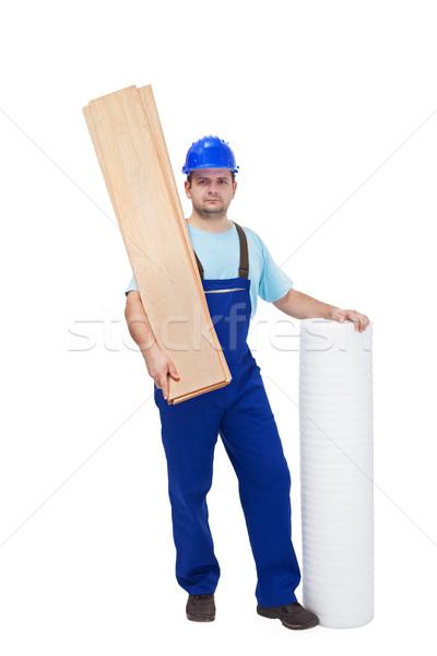Arbeitnehmer Bodenbelag Materialien Installation Holz Bau Stock foto © lightkeeper