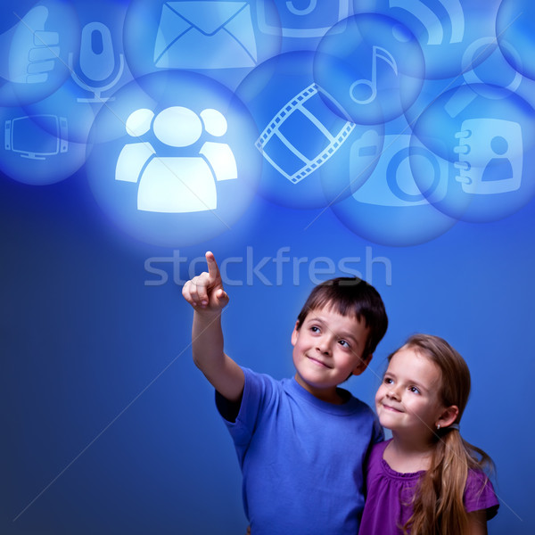 Kids accessing cloud applications Stock photo © lightkeeper