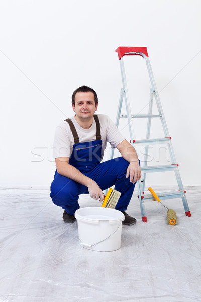 Stockfoto: Werknemer · penseel · ladder · muur · film · home