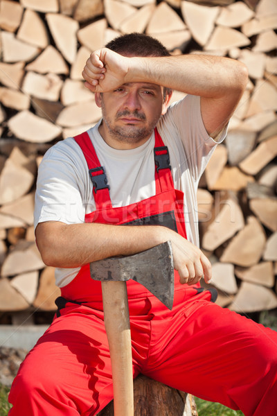 Tired worker done chopping the firewood Stock photo © lightkeeper