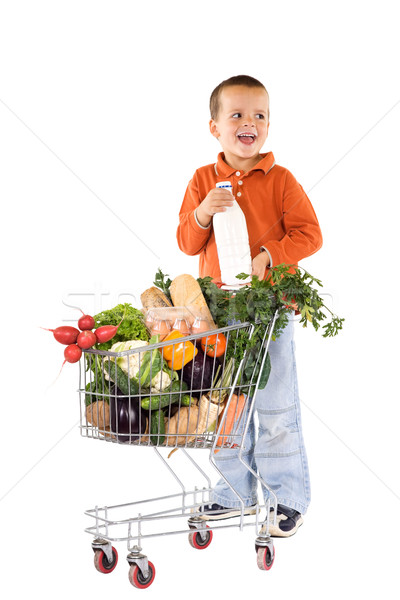 мало мальчика фундаментальный здоровое питание Корзина смеясь Сток-фото © lightkeeper