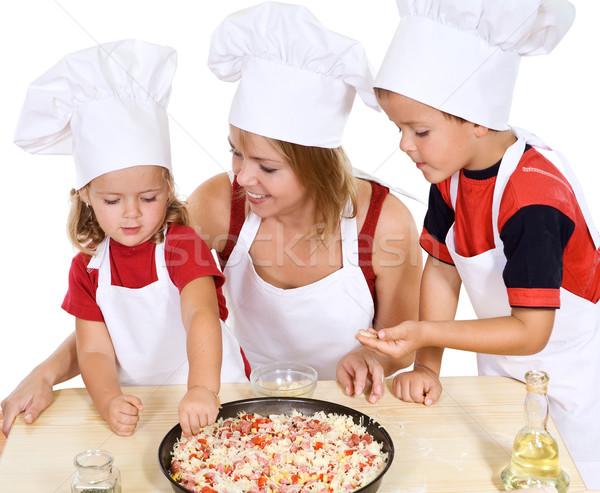 Pizza ragazzi donna home ragazza Foto d'archivio © lightkeeper