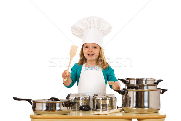 Little girl chef beating on the pots Stock photo © lightkeeper