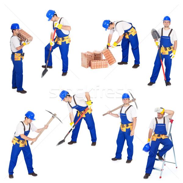 Inşaatçılar işçiler faaliyetler çalışma pozisyonları Stok fotoğraf © lightkeeper