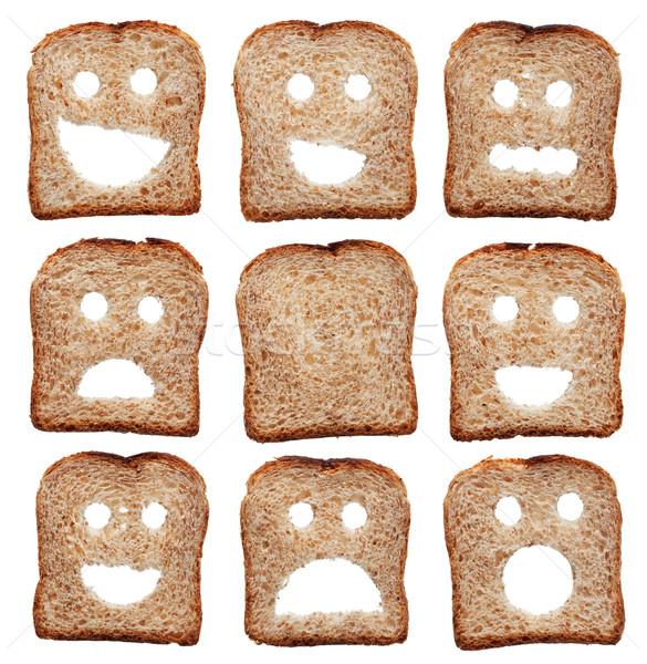 Pão fatias expressões faciais isolado branco comida Foto stock © lightkeeper