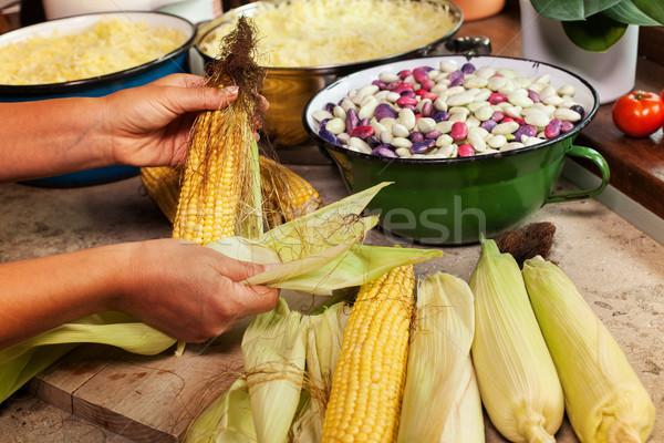 女性 料理 洗浄 トウモロコシ 手 ストックフォト © lightkeeper