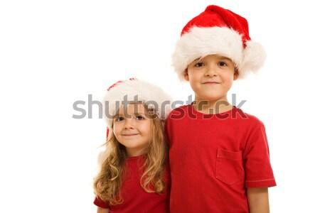 Piccolo sorridere ragazzi rosso indossare Natale Foto d'archivio © lightkeeper