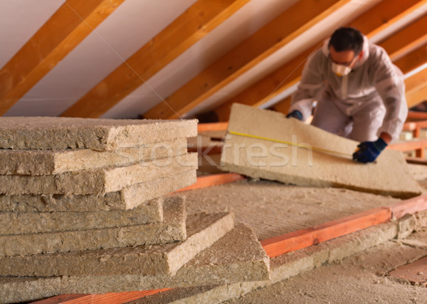 Thermal insulation of a building with mineral wool panels Stock photo © lightkeeper