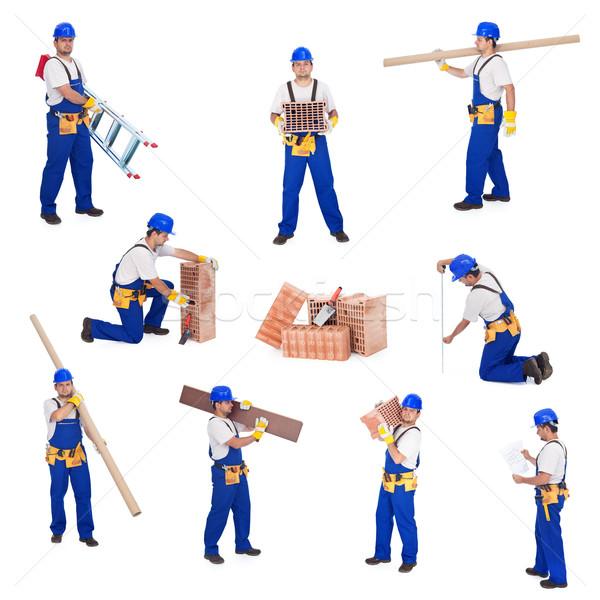 Manitas trabajador diferente actividades sonrisa edificio Foto stock © lightkeeper