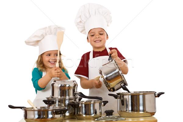 Szczęśliwy hałasu dziecko gotowania Zdjęcia stock © lightkeeper