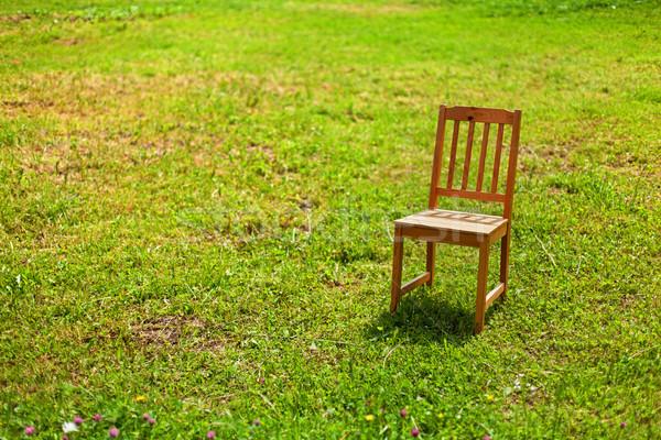 Yalnızlık sandalye çim parlak güneş ışığı ahşap Stok fotoğraf © lightkeeper