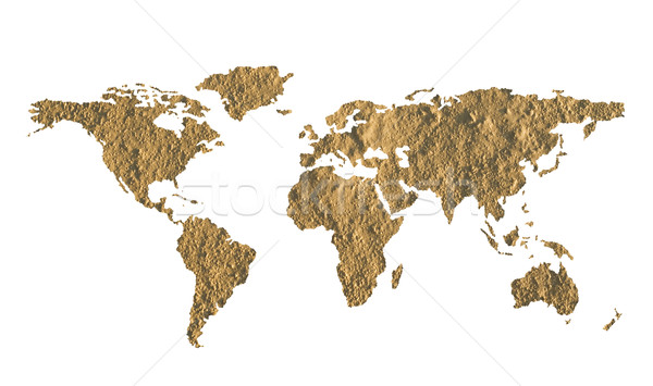World map made of fine grained dry mud Stock photo © lightkeeper