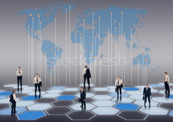 Бизнес-сеть всемирный бизнесменов различный позиции человека Сток-фото © lightkeeper