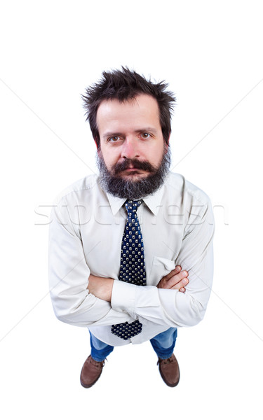 Man with funny hair and bushy beard looking up Stock photo © lightkeeper