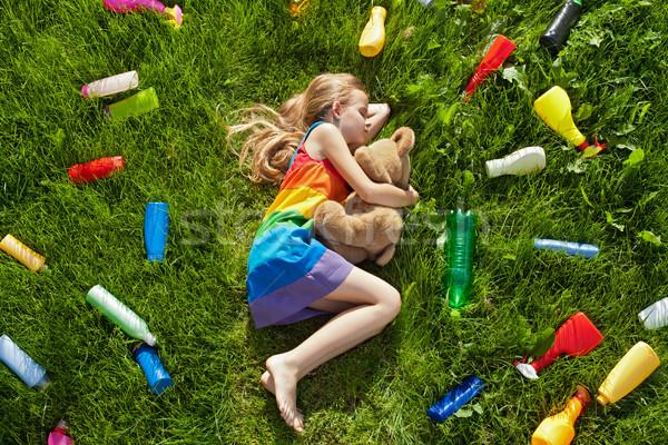 Groźba kolorowy marzenia plastikowe dziewczyna snem Zdjęcia stock © lightkeeper