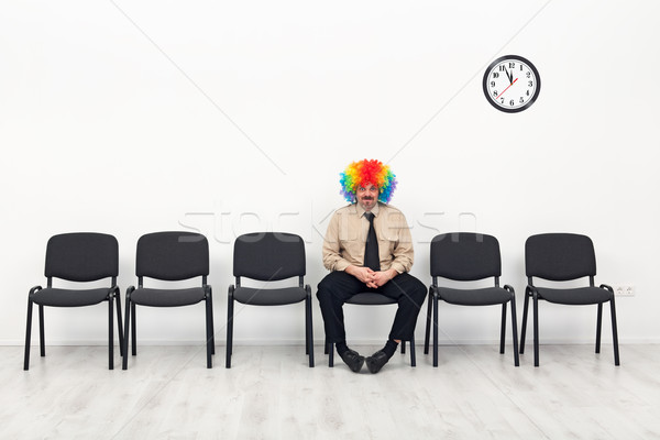 Dernier homme permanent attente clown affaires Photo stock © lightkeeper