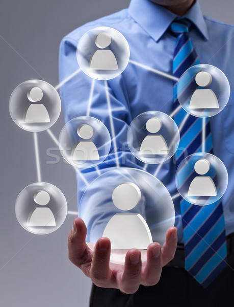 Social networking concept with connected glass speheres Stock photo © lightkeeper