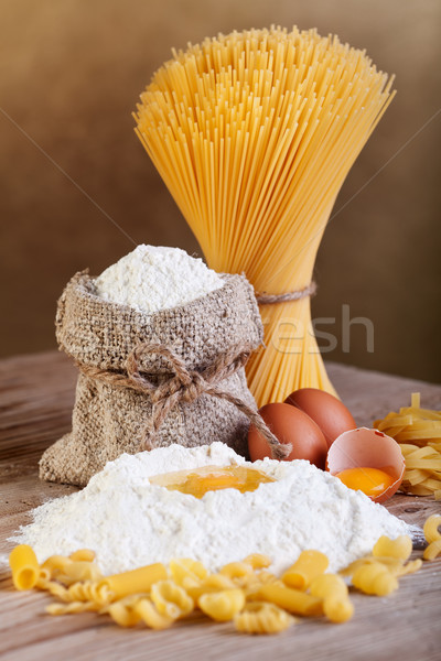Pasta with ingredients - flour and eggs Stock photo © lightkeeper